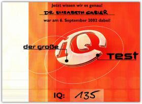 Am 6. September 2002 nahm ich auf Einladung von RTL bei Günter Jauch am Großen IQ-Test Deutschland teil. Das Ergebnis sehen Sie hier: